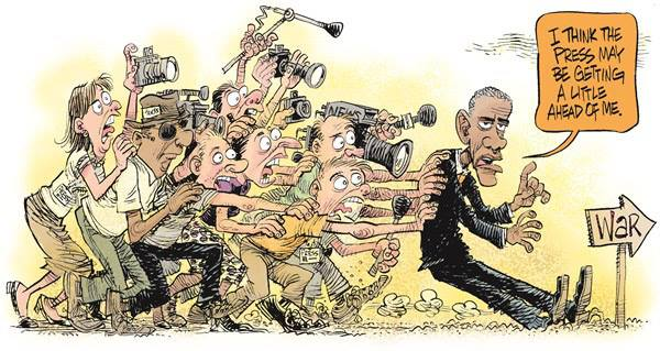 Parody of press, Obama and War on ISIS